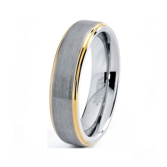 mens tungsten carbide wedding band ring 6mm 18k yellow gold polished