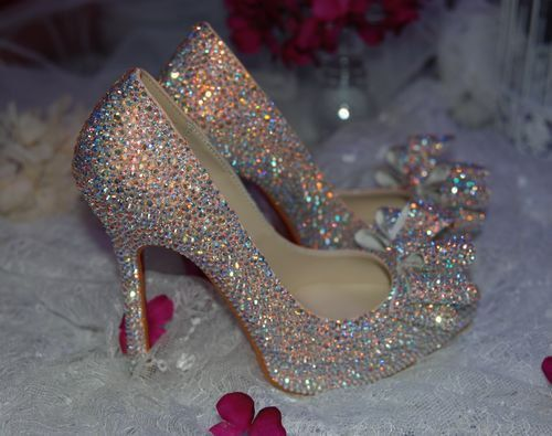 Luxury Pink Rhinestone Bridal HeelsCustom Sparkle Crystal  by Aiye, $259.00