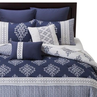 global 8 piece comforter set navy blue and white from target