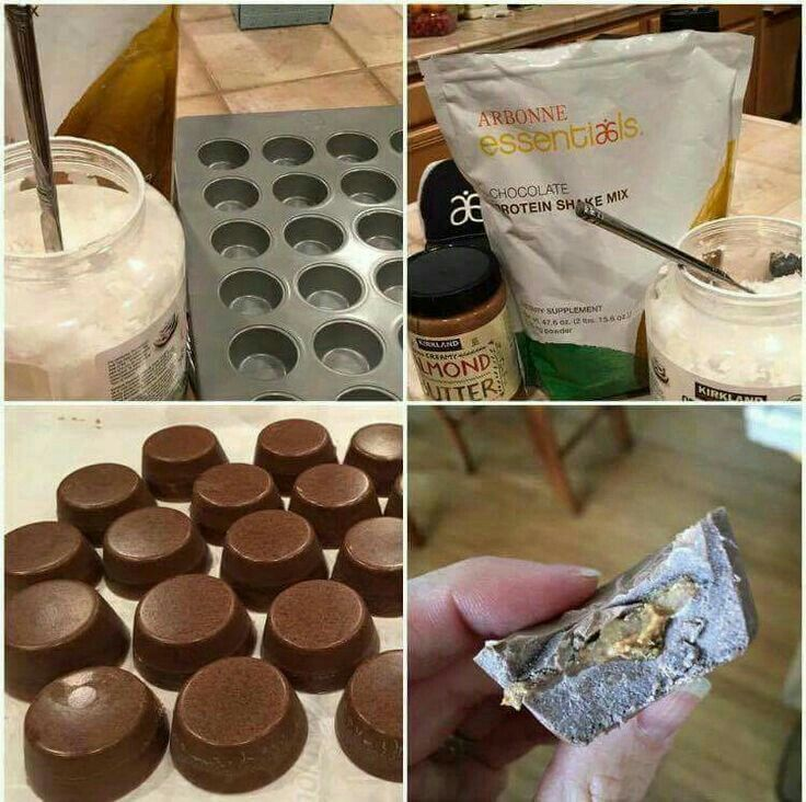 Protein Nut Butter Cups •Melt coconut oil, Mix with Arbonne chocolate protein powder (melted like consistency, about two scoops protein to 1/4 C. Coconut oil ratio) •Pour in mini cup mold or ice tray 1/2 way - freeze for 5mins •Add teaspoon of favorite nut butter (I used almond butter) •Top with remaining chocolate/coconut oil mix •Freeze for 5ish more mins •store in freezer
