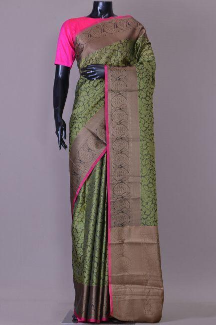 f97ee6975e06c Black   Green Kora Cotton Zari Woven Saree-KA1469