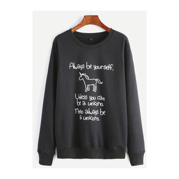 SheIn(sheinside) Black Unicorn And Slogan Print Sweatshirt (68 BRL) ❤ liked on Polyvore featuring tops, hoodies, sweatshirts, black, unicorn sweatshirt, print sweatshirt, pullover sweatshirt, long sleeve sweatshirt and patterned sweatshirt