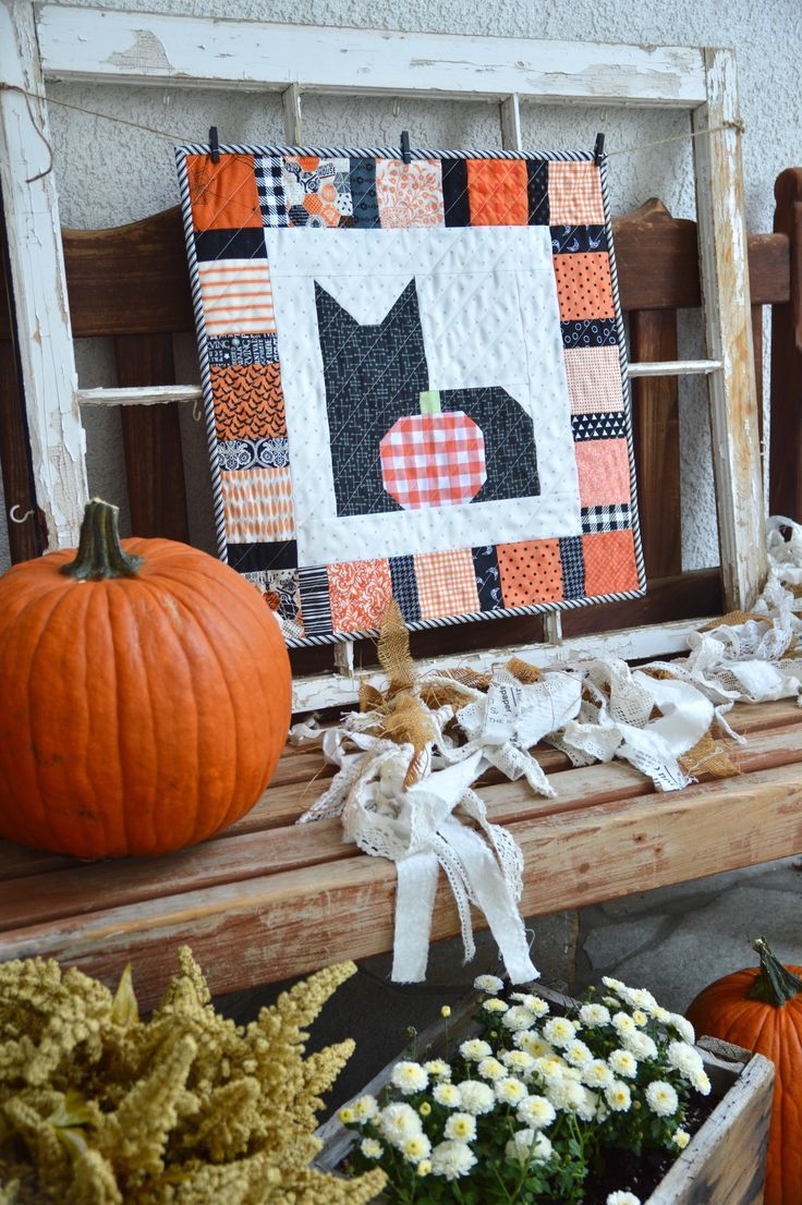 I Love Cats Halloween Wallhanging Halloween Quilt Patterns Fall Quilts Holiday Quilts