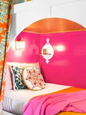 Kids Room Ideas – Shiny finishes brighten tight spaces. cute and cozy, not dark and cave-like. painted it high-gloss hot pink.