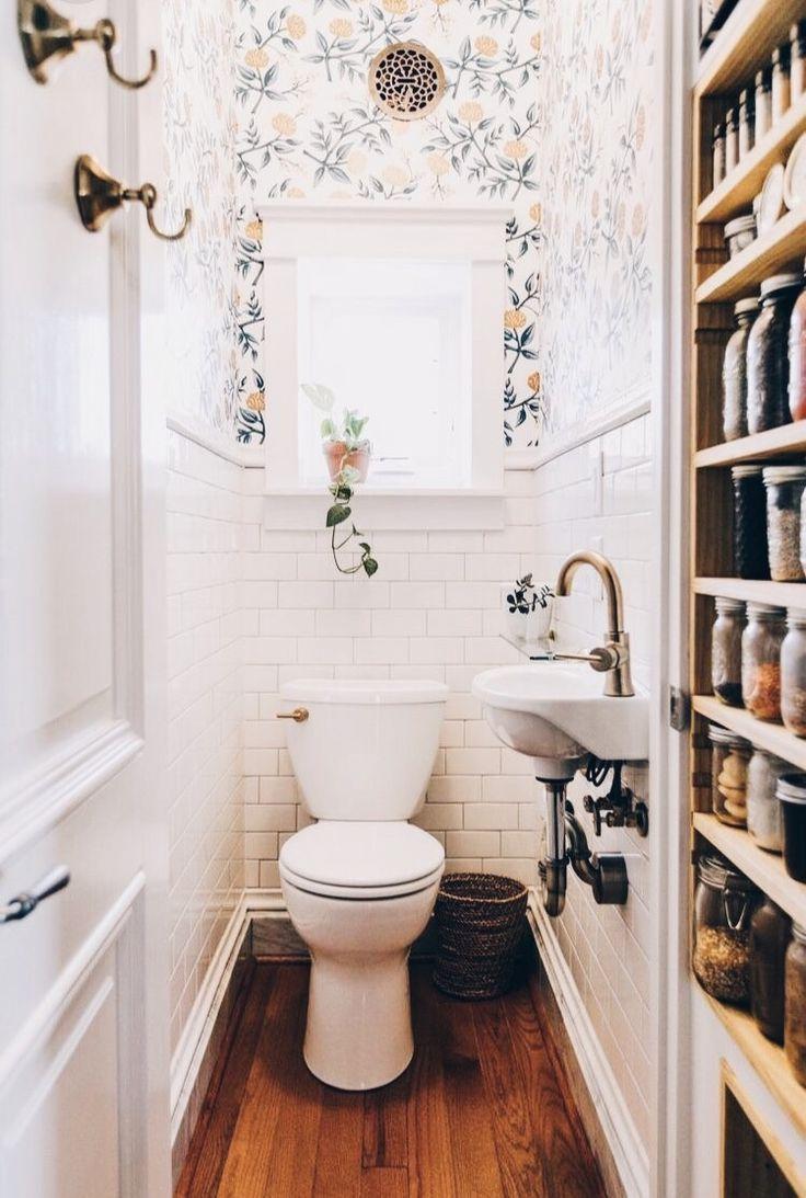 Dream House Home Design Wood Floor Bathroom Half Bath White Tile Wallpaper Brass Interior Design Powder Room Small Tiny Bathrooms Bathroom Color