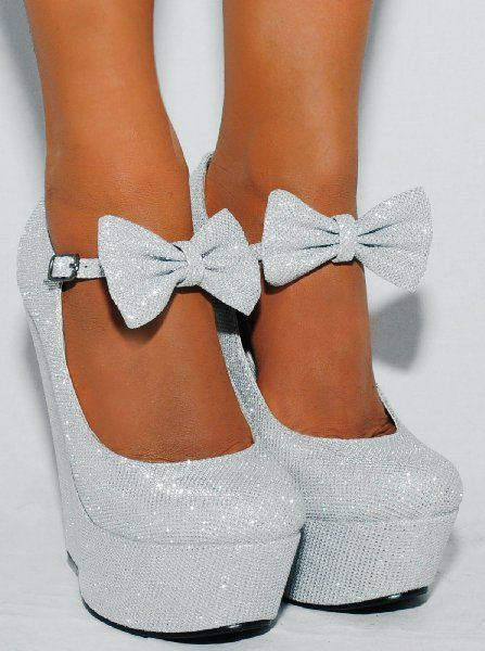 Ladies Silver Sparkly Metallic High Heels Wedges Glitter Wedged Bow Detail Shoes Platforms:Amazon.co.uk