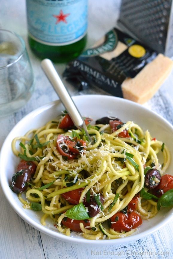 Spiralized Zucchini Pasta alla Puttanesca - a delicious Italian pasta meal made skinny, featuring cherry tomatoes and olives
