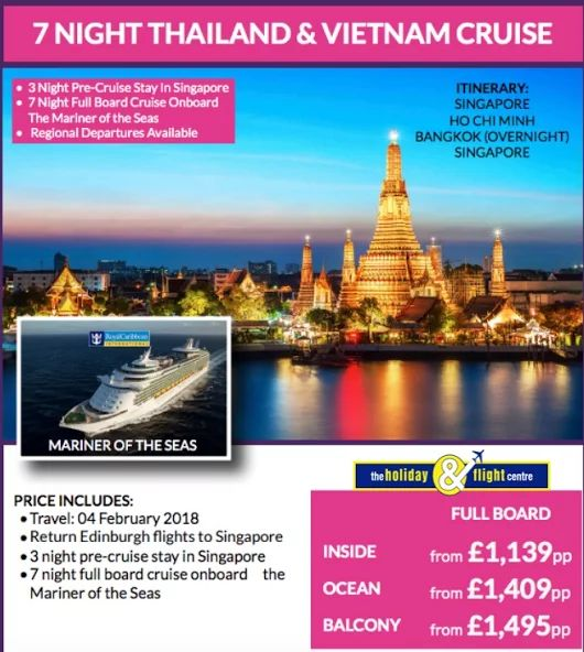 Thailand & Vietnam Cruise and Stay   From Edinburgh  See more cruise offers here....  https://plus.google.com/u/0/b/117155539269047519956/collection/0so0NE