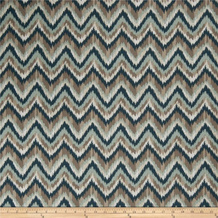 Fabricut Dearborn Chevron Seaport from @fabricdotcom  Screen printed on 100% cotton, this medium/heavyweight fabric features a flamestitch / bargello pattern and is perfect for window accents (draperies, valances, curtains, and swags), accent pillows, duvet covers, and upholstery projects.