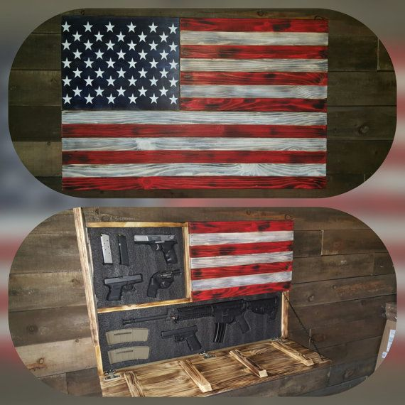 This American Flag Concealed Gun Case measures 40x26x4. The larger opening is 38.5 x 10.75 The smaller opening is 12.5x15.75The hidden compartments are secured with Safety 1st magnetic locks. The compartments come with 2.25 thick customizable layered gun foam that you will cut to personalize your case. Mounting hardware, magnetic key, foam customizing tool and instructions are included. Weapons shown not included. 5-7 week production time currently as of 9/5/16 The In Stock # listed is a…