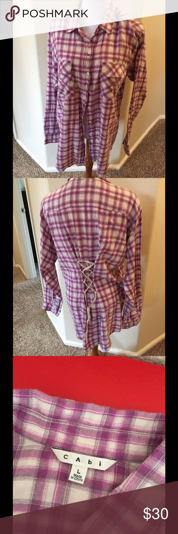 """Cabi purple /pink flannel L Cute long flannel shirt with tie back Bust 38"""" Length 29"""" center back CAbi Tops Button Down Shirts"""