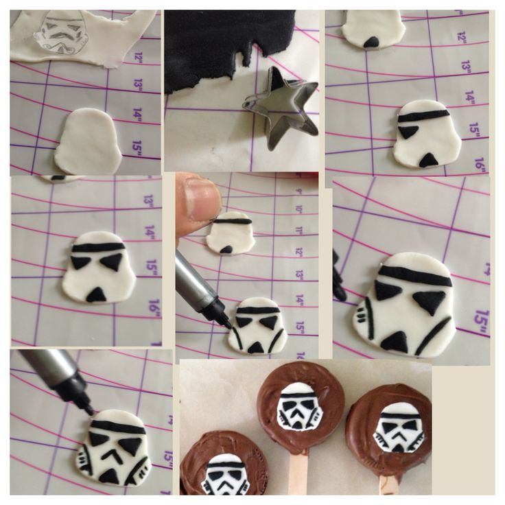 How to make the star wars storm trooper fondant cut out for oreo pops.
