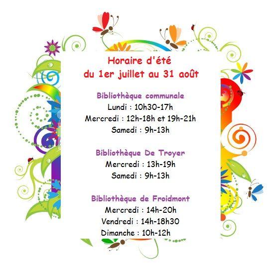 Horaire d'été pour les bibliothèques publiques de Rixensart