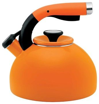 Circulon Morning Bird Steel Teakettle, Mandarin Orange contemporary-kettles