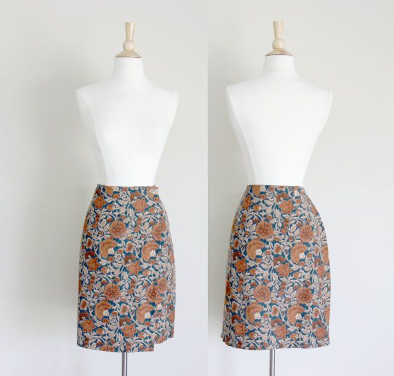 1990s Floral Corduroy Wrap Skirt by Coldwater by apotheosisvintage