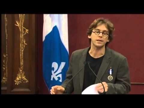Discours de Fred Pellerin lors de la remise de l'insigne de Chevalier de l'Ordre national du Québec