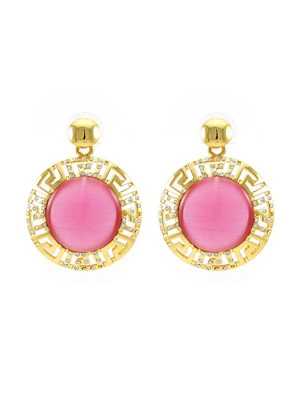 Wholesale Dubai gold plated jewellery earrings in pink opal