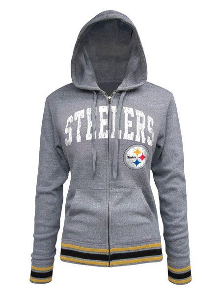 Pittsburgh Steelers Women's Full Zip Tri-Blend Stripe Trim Hoodie - Official Online Store