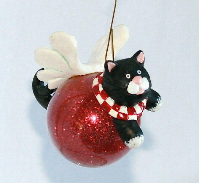 vintage Christmas cat ornament round white cat ornament Vintage white cat ornament Hallmark 1987 cat ornament