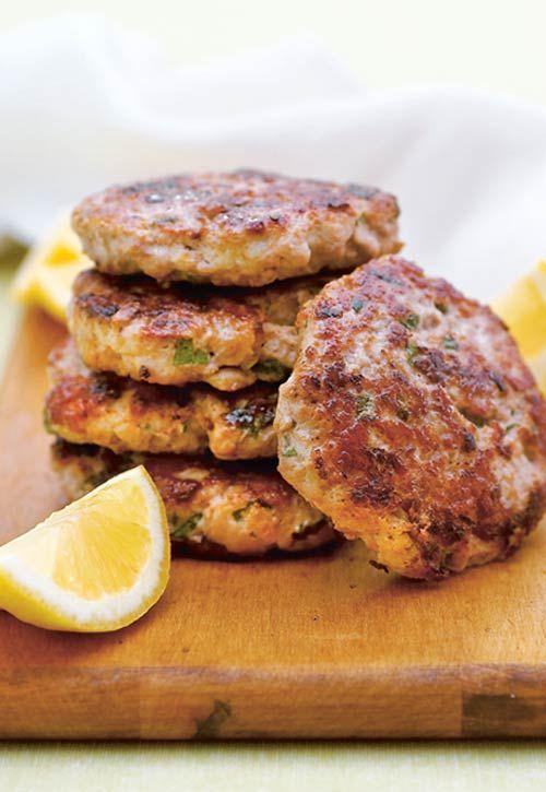 Turkey Burgers with Lemon {fresh ground turkey; onion; lemon; garlic clove; fresh mint; pepper; salt; egg; olive oil; 12 slider buns or 4 regular buns; 1 small lemon}
