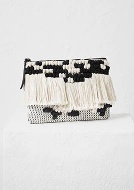 Decorative accessories inspired by artisinal crafts bring a sophisticated touch to your spring style. We love this woven black & white clutch bag from our Spring Fashion collection! | H&M Spring Fashion