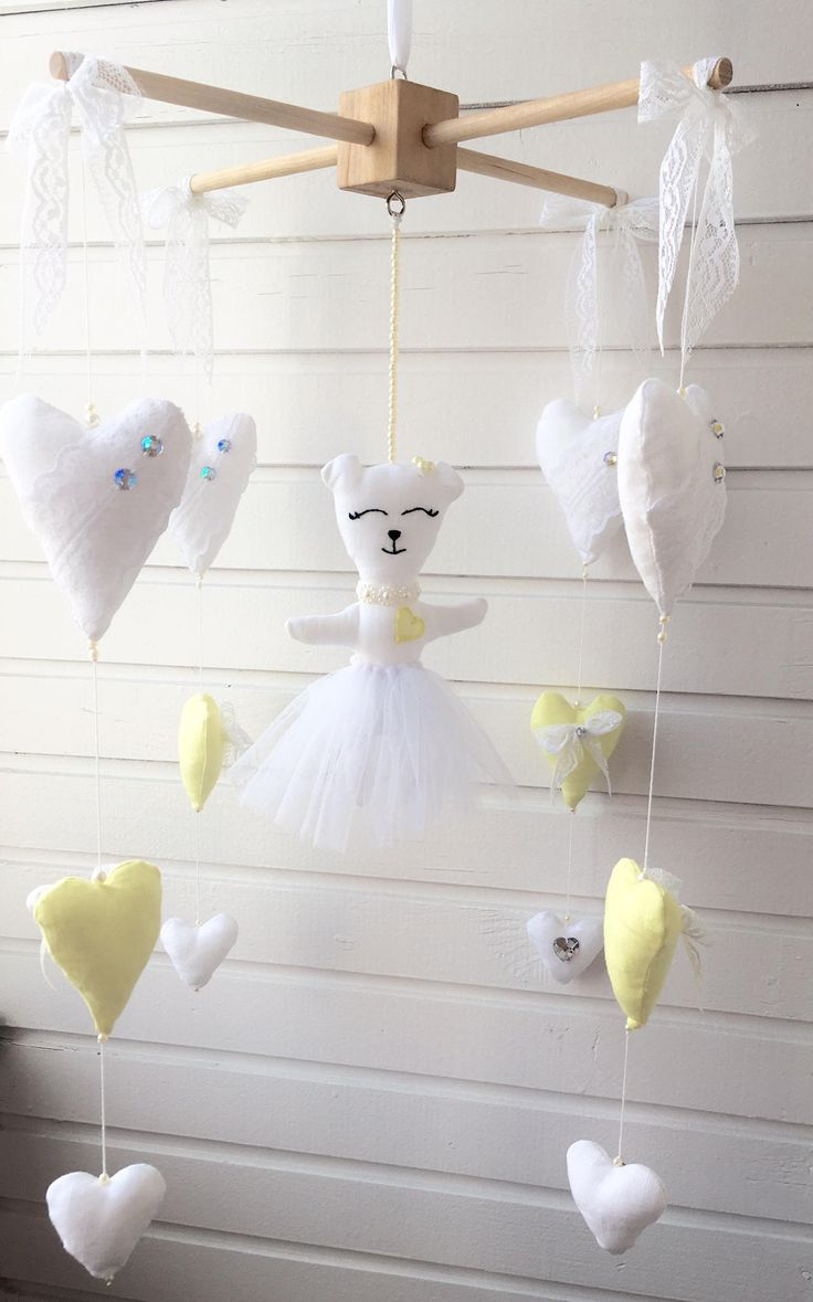 Baby mobile linen with crystals lace hearts and bear by ToysCastle on Etsy