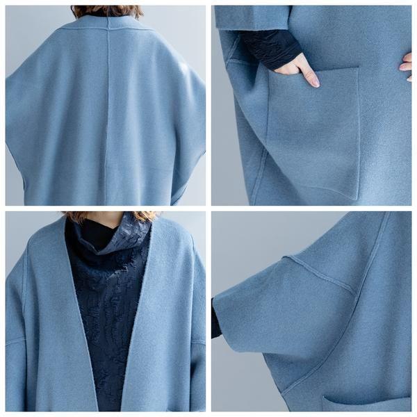 Loose Wool Long Warm Coat Women Fall And Winter Jacket C2491