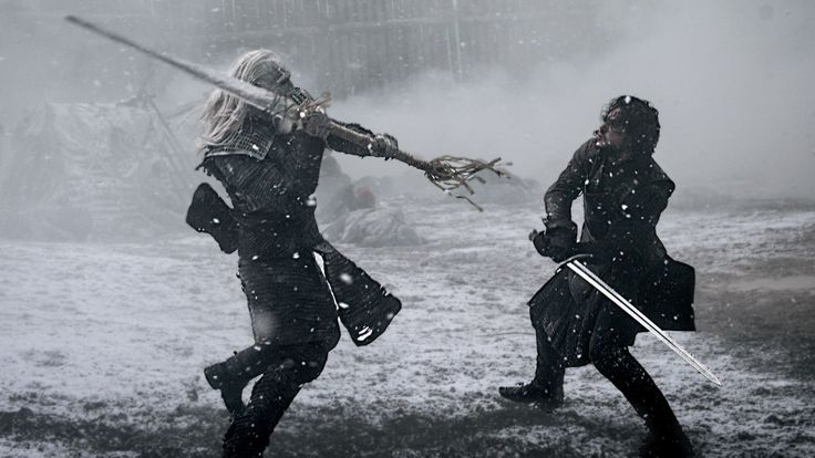 """White Walker and Jon Snow duel   Game of Thrones, 5x08, """"Hardhome"""""""