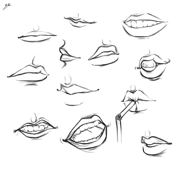 how to draw smiling mouth