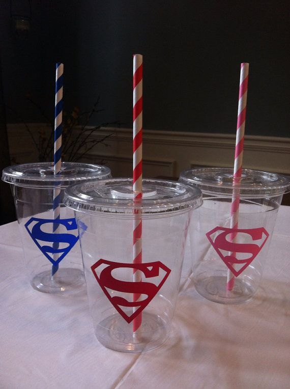 Personalized Superman Party Cups  set of 12 by Owlsayit on Etsy, $14.99