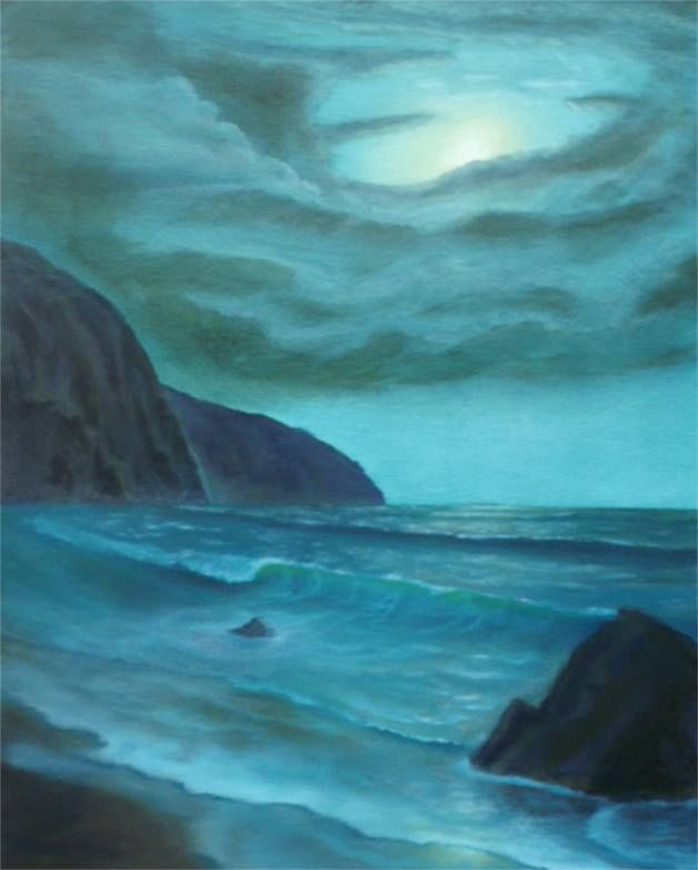 """Moonlit Cove""  Oil on panel."
