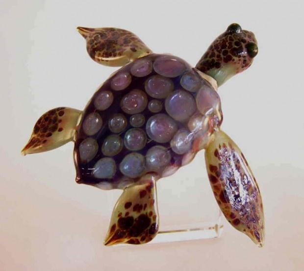 art glass turtle