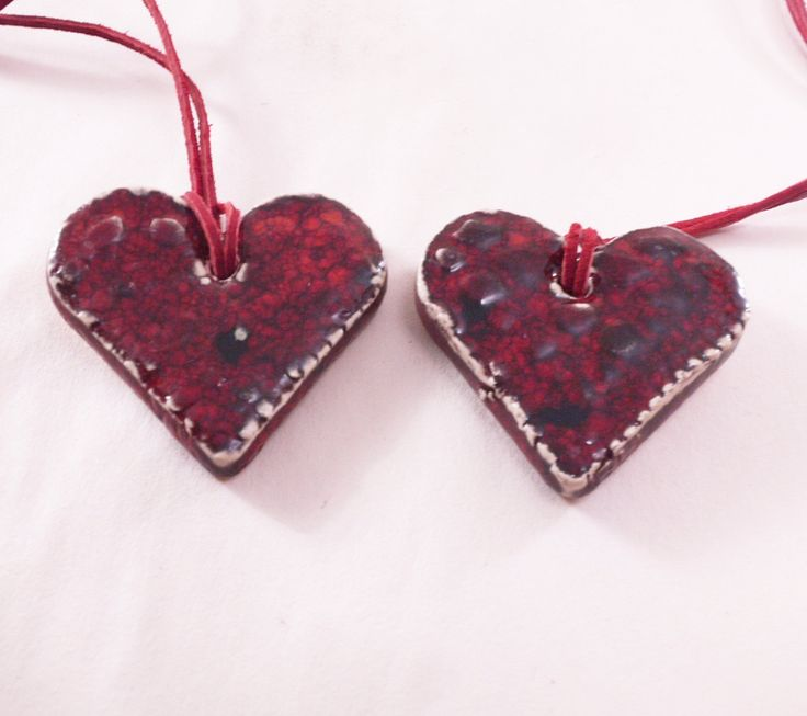 Two ceramic red hearts pendant, handmade heart, ceramic jewellery,  handmade pottery, gift by CeramicsNaturalist on Etsy