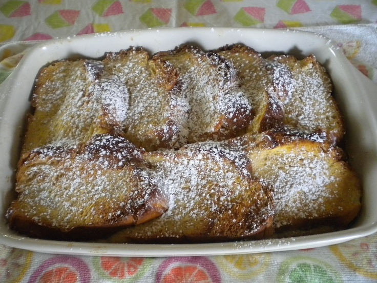 French Toast Bake......prepared the night before and baked the morning of.....basically a french toast flavored bread pudding - soooooo good