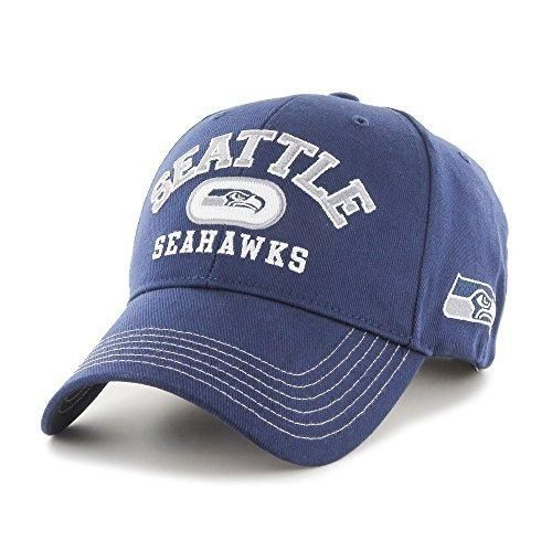 Mens NFL Seahawks Cap Football Themed Hat Embroidered Team Logo Sports Patterned Team Logo Fan Athletic Team Spirit Fan Comfortable Blue White Silver Heavy Twill