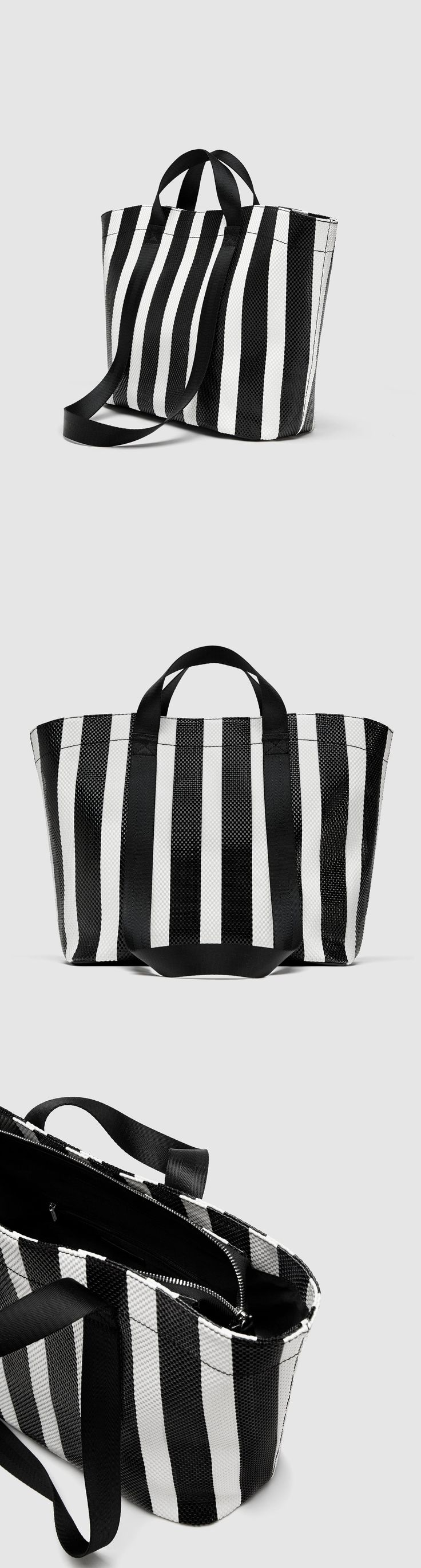 Striped Tote // 49.90 USD // Zara // Tote bag in contrasting colours. Two-tone striped detail on the sides. Double handle and shoulder strap. Zip closure. Height x Width x Depth: 32 x 48 x 16 cm. / 12.5 x 18.8 x 6.2″