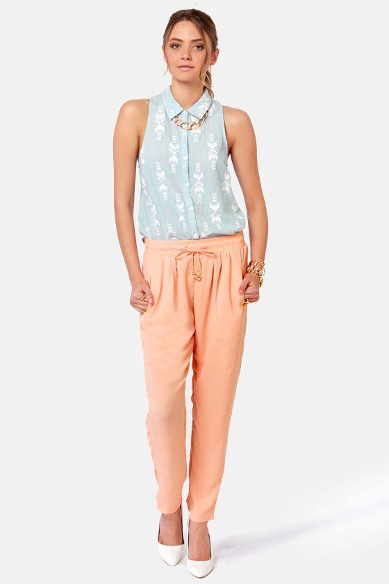 Cute Peach Pants - Tapered Pants - Harem Pants - $43.00