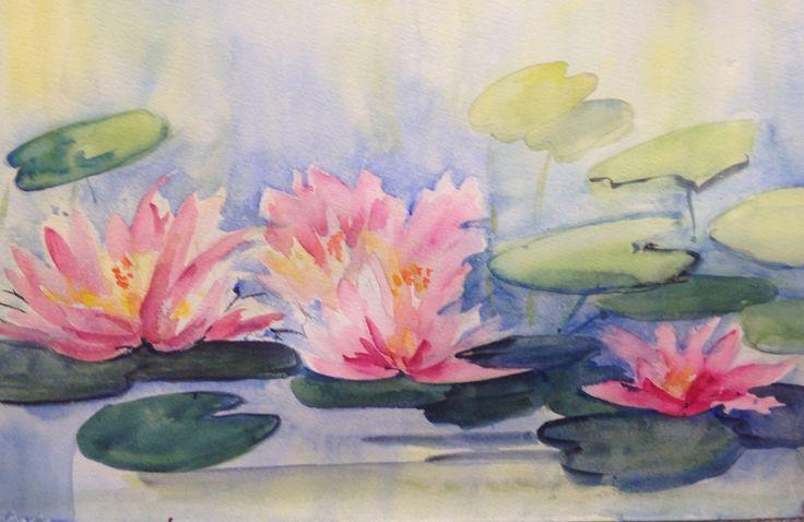 Pink liliesWatercolour