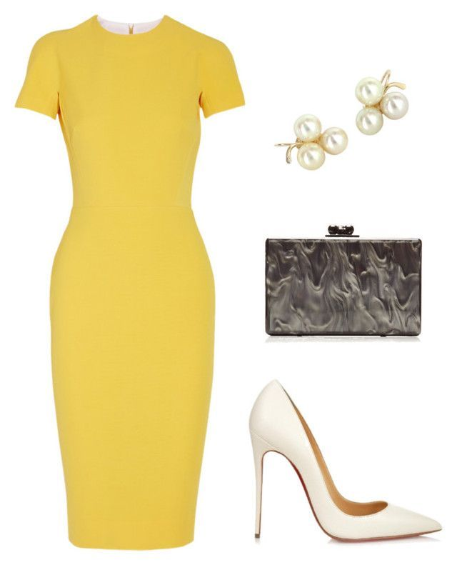 Untitled #45 by sarasaab on Polyvore featuring polyvore fashion style Victoria Beckham Christian Louboutin Edie Parker Vintage clothing