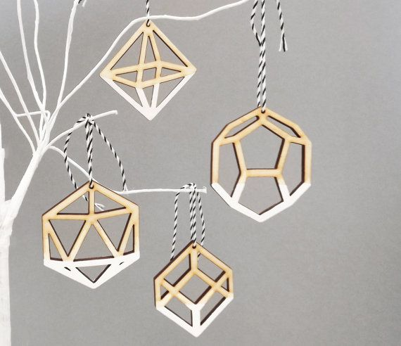 Geometric Ombre White Christmas Tree Ornaments Decorations - Laser Cut Dip Dye x 4