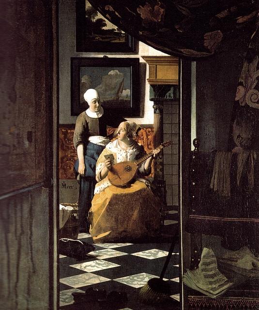 Seen - The Love Letter | Jan Vermeer | c. 1667-1670 |Oil on canvas | 44 x 38.5.cm. (17 3/8 x 15 1/8 in.) Rijksmuseum, Amsterdam