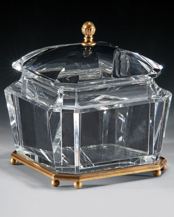square crystal box with antiqued brass trim