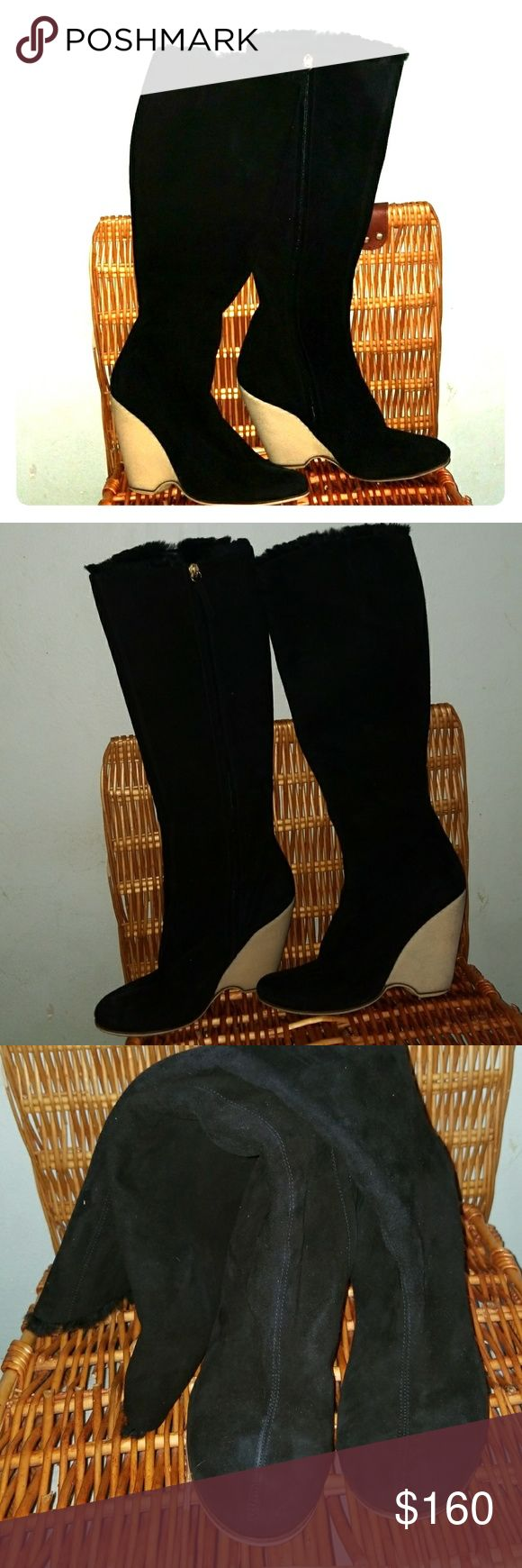 "Giuseppe Zanotti Design suede boots Italy Fabulous pair! Black suede upper. Inside zipper closure. White wedge. Sheared fur lining, can't tell if it's a rabbit or mink. No size markings, my kid tried it on, his foot is 10"", it fits, so its= size 9, 9.5. Moderate wear to the heels. Made in Italy. Giuseppe Zanotti Shoes Heeled Boots"