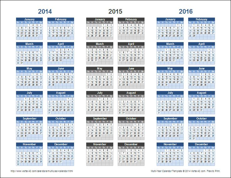 Download a 3-Year Calendar Template for Excel