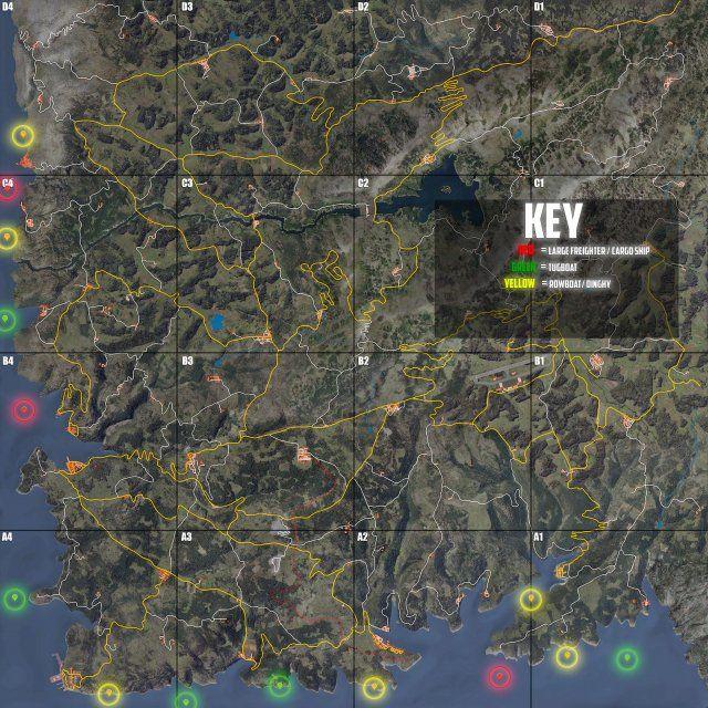 Scum Shipwreck Locations Map