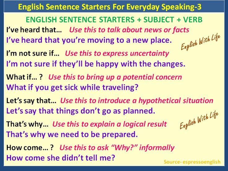 Phrases - English Sentence Starters for Everyday Speaking 3.