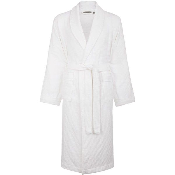 Croft Collection Waffle Bath Robe ($54) ❤ liked on Polyvore featuring intimates, robes, white, waffle robe, white bathrobe, waffle dressing gown, waffle weave bathrobe and white bath robe