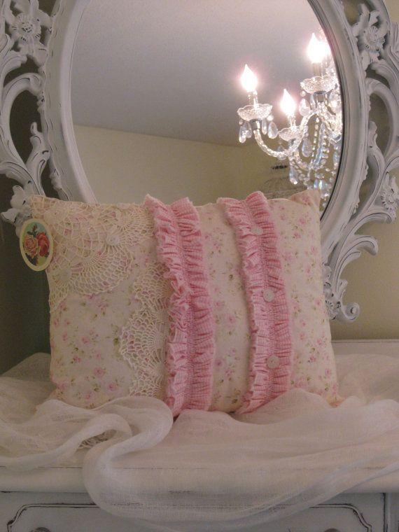 OOAK Shabby Chic print pink cream & green by BrambleWoodANDivy