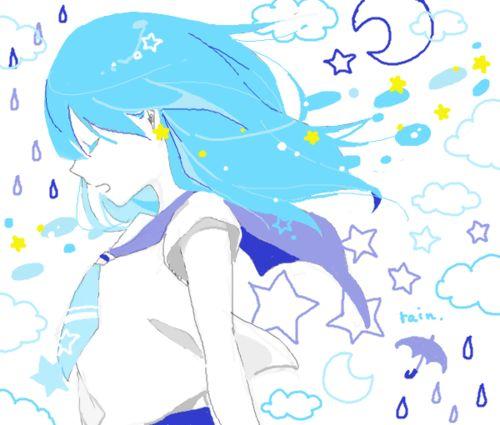 Anime Girl Manga Cloud Stars White Light Blue Art