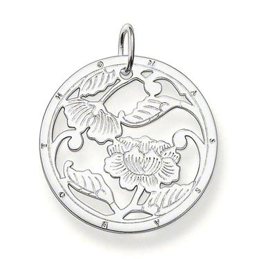 Ornament pendant with eyelet 925 Sterlingsilver The playful cut-out flower ornament made from 925 Sterlingsilver is also a fabulously-beautiful item of jewellery when worn alone, but can also be wonderfully combined with subtle pendants. Size: 3.4 cm